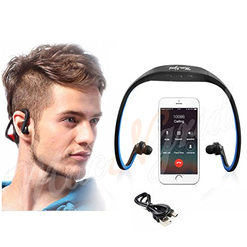 Macngrid® BT In-Ear Bluetooth Sport Headhpones, Classic Neckband Sport Stereo Bluetooth Earphone Wireless Headphone Sweatproof Headset with Micro SD TF card Slot