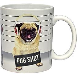 Fizz Creations–Taza con foto de perro carlino y texto en inglés «Pug shot», color blanco