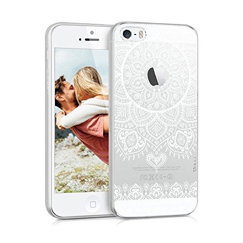 HULI Design Case Hülle für Apple iPhone SE / 5 / 5s Smartphone im Orientalischen Muster weiß - Hülle aus TPU Silikon - Schutzhülle mit orientalischem Mandala Ornament - Handyhülle