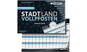 """STADT LAND VOLLPFOSTEN® - BLUE EDITION - """"Wissen ist Macht"""": DIN-A3 Block mit 50 Blatt, 43 lustige Kategorien bringen jeden Hobbydenker ins Schwitzen. ... Pro Runde (13 Begriffe) 2 Minuten"""