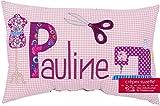 Crêpes Suzette Individualisierbares Namenskissen Modell Pauline mit Schneider-Motiv in rosa