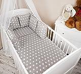 Amilian® Baby Bettwäsche Design: Pünktchen grau Nestchen Bettset 100x135 für Babybett Decke Kissen Bettumrandung