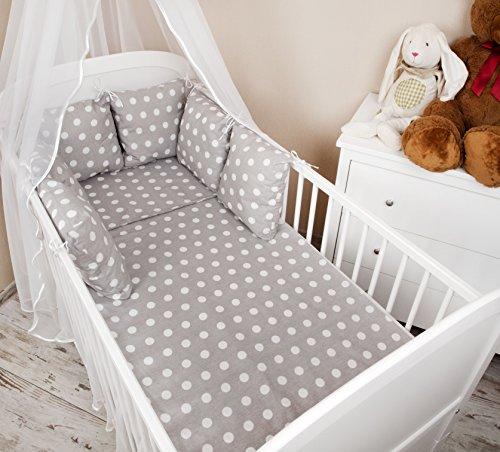 Baby Nestchen Bettumrandung 210 cm Design: Pünktchen grau Bettnestchen Kantenschutz Kopfschutz für Babybett Bettausstattung