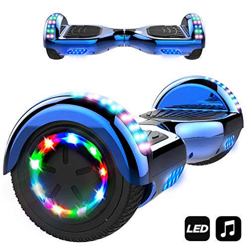Markboard Patinete Eléctrico 6.5' con Luces LED, Flash Ruedas, Cinco Estrellas con Bluetooth, Scooter Monopatín Auto Equilibrio