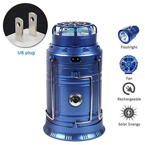 Hinmay Farol solar de camping con ventiladores, 4 en 1, portátil, LED, linterna de camping, luz recargable y ventilador para exteriores, emergencia, huracán, color azul, tamaño us plug
