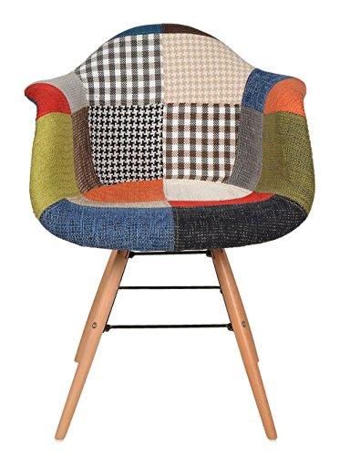 ts-ideen-1-x-Design-Chaise-Rembourre-Retro-Annes-50-Bar-Cuisine-Salle--Manger-Salon-Patchwork-Lin-Bois-Mtal-multi-colore