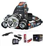 AFAITH 6000LM 3x CREE XM-L T6 LED Frontale Luce faro lampada Testa Headlight Headlamp + 2pz BATTERIA 18650 Per Outdoor Sport Bici, Ciclismo, Cycling, Hiking, Camping, night rides, Caving expedition
