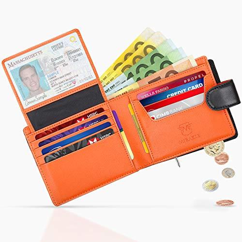 Mirakle Portafoglio Uomo Vera Pelle Blocco RFID con cerniera portamonete e banconote e 14 porta carte di credito, Finestra ID, Portafogli uomo minimalista con confezione regalo, nero- arancione