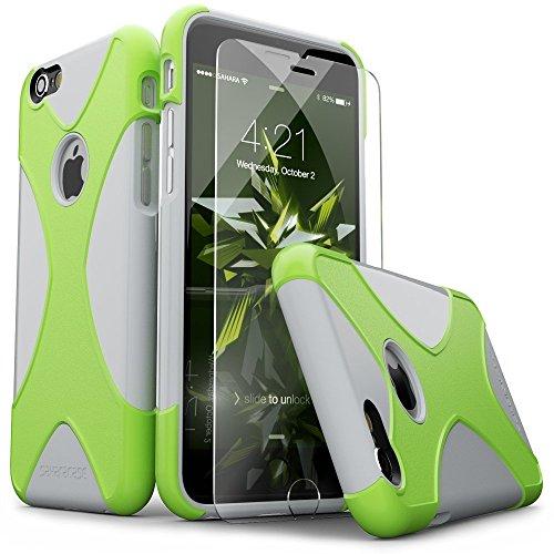 iPhone 6 Hülle, (Grau/Grün) X-Case SaharaCase Schutz Kit Paket mit Null Schaden [ZeroDamage gehärtetes Glas Bildschirmschutz] Robuster Schutz Anti-Rutsch-Griffigkeit [Stoß sicherer Puffer] Schlanke Passform (Iphone 6 Att 16gb Verwendet)