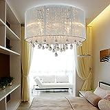 Deckenleuchte Elegant Runden Decke Spülen Licht mit Weiß Gaze Stoff Lampenschirm und Klar Kristall Deckenbeleuchtung Tropfen Leuchter zum Wohnzimmer Schlafzimmer Deckenlampe Chrom Fertig, D45, 6 * E14