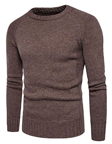 Alion Men's Crewneck Basic Solid Pullover Knitted Sweater Coffee S