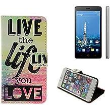 360° Funda Smartphone para ZTE Blade V220, 'live the life you love' | Wallet case flip cover caja bolsa Caso Monedero BookStyle - K-S-Trade