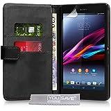 Sony Xperia Z Ultra Tasche Schwarz PU Leder Brieftasche Hülle