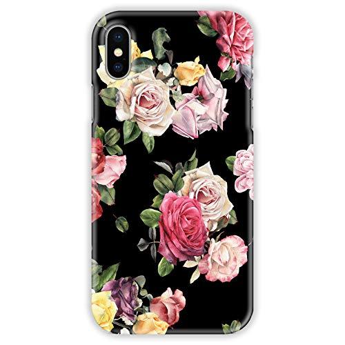 TheSmartGuard Hülle kompatibel für Apple iPhone XS/X Hülle Blumen Flowers Rosen Vintage Schwarz Rosa Pink Gelb Hard-Case Schutzhülle aus Kunststoff Cover Gelb Hard Case
