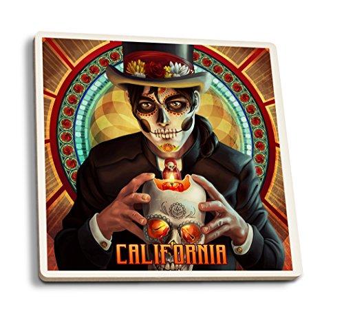 California-Tag der Toten-MAN und Kerze, keramik, mehrfarbig, 4 Coaster Set