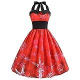 Kleider Damen Kleid 1950er Vintage Brautjungfernkleid Petticoat Ballkleid Hepburn Cocktailkleid Rockabilly Weihnachten gedruckt Halter ärmelloses Abend Party Prom Swing Dress(10,Large)