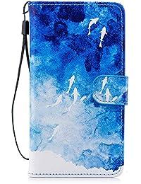 MoreChioce Huawei P20 Lite Hülle,Huawei P20 Lite Leder Flip Case, Bunt Muster Leder Wallet Case Handyhülle Klapper Tasche Magnetverschluß mit Kartenfach Standfunktion für Huawei P20 Lite