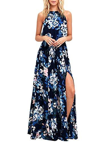 chuangminghangqi Donne Elegante Abito da Cerimonia Sera Lungo Schienale Fascia Vestito Senza Maniche Estivo Casual Floreale Fiori Fantasia Dress (S, Blu)