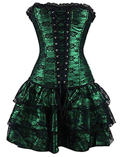 Burvogue Damen Gothik Bügel Spitze Korsetts und Halloween Korsagen Kleid mit Rock - Grün, X-Large (Baumwolle Kleid Strukturierte)