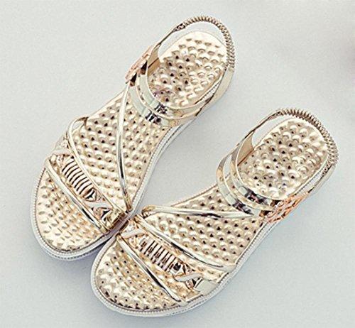 sandales d'été des femmes strass boucle sandales femmes chaussures en cuir verni étudiants confortables Gold