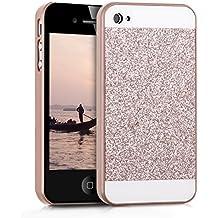 kwmobile Funda Hardcase Diseño rectánculo brillantina para Apple iPhone 4 / 4S en oro rosa blanco