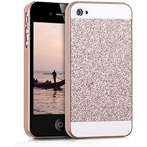 kwmobile Funda Hardcase Diseño rectánculo brillantina para Apple iPhone 4 / 4S en oro rosa blanco