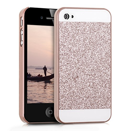 kwmobile Hülle für Apple iPhone 4 / 4S - Backcover Case Handy Schutzhülle Kunststoff - Hardcase Cover Glitzer Rechteck Design Rosegold Weiß