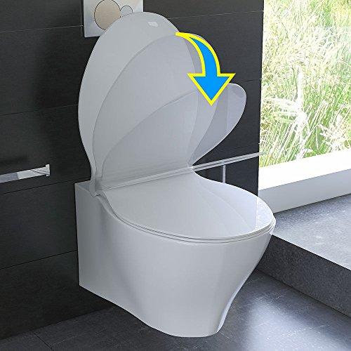 Spülrandloses Hänge WC Keramik Toilette ohne Spülrand inkl. Duroplast WC-Sitz mit Soft-Close / Quick Release Funktion passend zu GEBERIT - 3