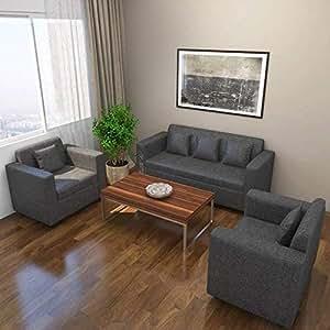 Bharat Lifestyle Lexus Fabric 3+1+1 Sofa Set (Dark Grey)