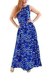 YMING Women Floral Beach Crochet Backless Maxi Long Swing Dress