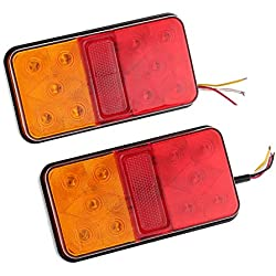 Justech 2 PCS Feu Arrière LED Clignotant de Position Stationnement avec 20 LEDs Au Totale Feux Univesel 12V pour Remorque Camion Camionette Caravane UV Voiture Véhicule