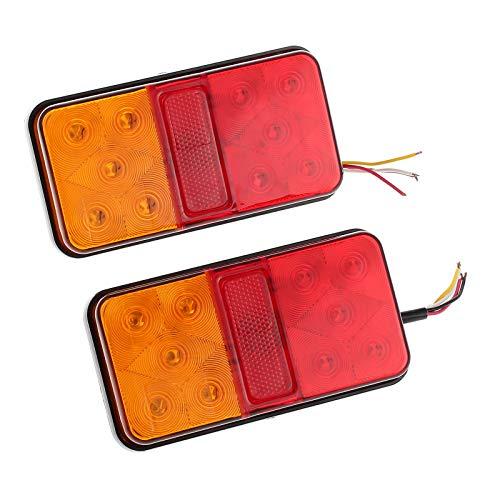 Justech 2 x Fanali Posteriori Luci Posizione LED Lampadine Indicatori di Parcheggio 2x10 LED 12V Impermeabile Universale per Veicolo Rimorchio Caravan Camion Trattore Autocarro.