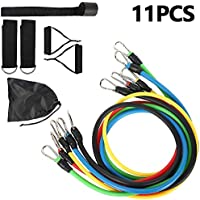 Basic Model Resistance Bands Set for Men, Exercise Bands Set, Fitness Stretch Bands 11PC with Fitness Tubes, Foam Handles, Ankle Straps for Resistance Training, Physical Therapy, Home Workouts