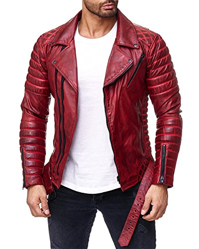 Reichstadt Herren Jacke RS001 bordeaux - RS001 PU - black zipper L