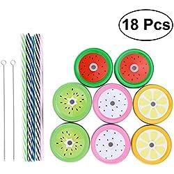 BESTONZON Straw Lid Mason Pajita de boca regular con agujero de paja 8 Tapas decorativas 8 Paja de rayas 2 Juego de llaves de paja Ideal para bebés y niños y bebidas para adultos