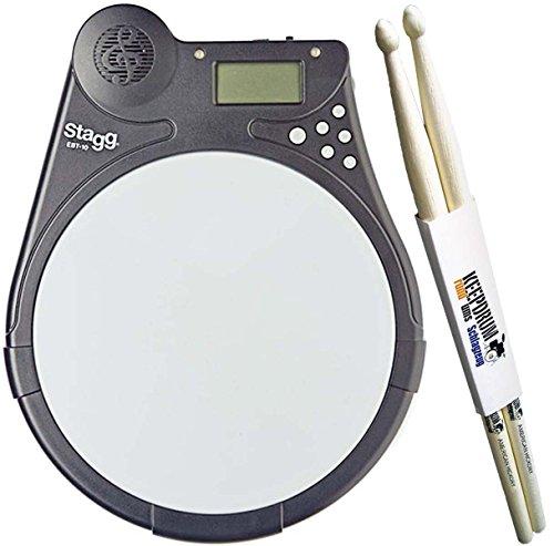 Stagg EBT-10 Electronic Beat Tutor elektronisches Übungs-Pad + KEEPDRUM Drumsticks 1 Paar