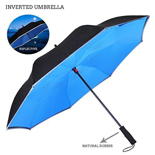 Premium Double Layer seitenverkehrt Regenschirm für-Auto von ambrellaok Rückseite zusammenklappbar Upside Down C-förmigem Hände frei Griff–Kompakt Leicht und winddicht–Ideal Geschenk Herren und Damen