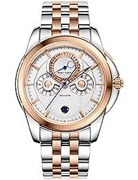 Reef tigre Casual Mens reloj oro rosa esfera blanca de acero multifuncional relojes rga830
