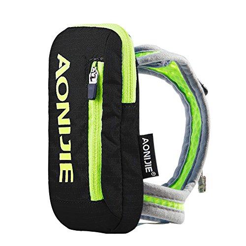 Imagen de aonijie bolsa de nylon para maratón de mano  de hidratación senderismo ciclismo running eléctrica bolso de mano para 250ml botella de agua deportes al aire libre, negro