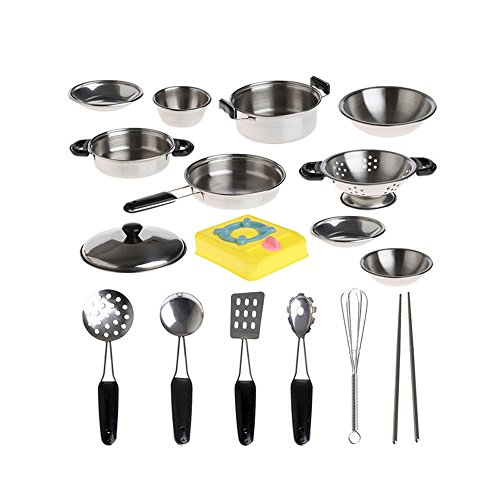 Kitchen Playsets Toys, Bestow 20Pcs Stainless Steel Pots Pans Cookware Miniature Toy Pretend Play Gift For Kid (Silver)