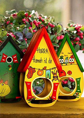 Geburtsgeschenk, Geschenk zur Geburt, mit Kindernamen, Gewicht und Körpergröße, Vogelhaus Familienmodell