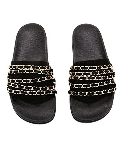CHAOXIANG Pantofole Da Donna Antiscivolo Ciabatte Piatte Sandali Da Surf Nuova Estate Ciabatte Spiaggia ( Colore : Bianca , dimensioni : EU37.5/UK4.5/CN38 ) Nero