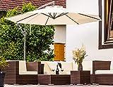 Enrico Coveri Garden Ombrellone Decentrato Acciaio con Palo Laterale 3 Metri Ecrù, Perfetto per Arredo Giardino, Terrazzo, Esterno, Bar e Hotel