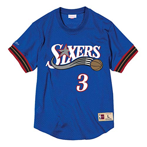 Mitchell & Ness Allen Iverson #3 Philadelphia 76ers HWC NBA Mesh Crewneck Shirt BLAU, M