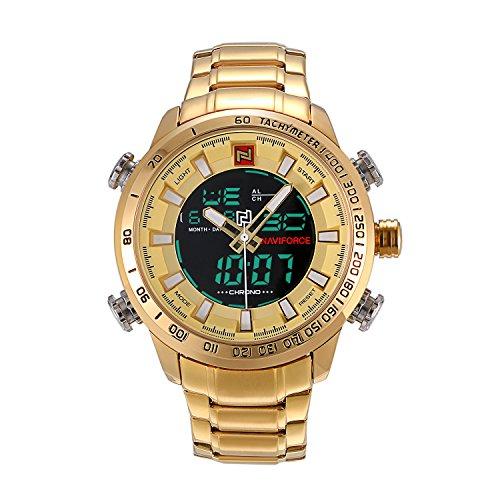 Montre Homme LANCARDO Montre Bracelet Affichage Analogique et Digital Bracelet en Acier Inoxydable Bracelet Montre Homme Or