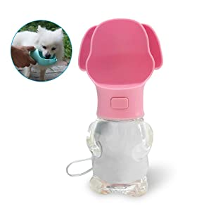 Pets Empire Dog Drinking Water Bottle,Cute Dog Shaped Dog Water Bottle for Outdoor, Environmental Plastic ABS 500ml - 1 Piece Color May Vary