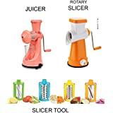 JD Heavy Manual Fruit And Vegetable Juicer + 4 In 1 Drum Grater Shredder Slicer For Vegetable, Fruits, (COMBO)