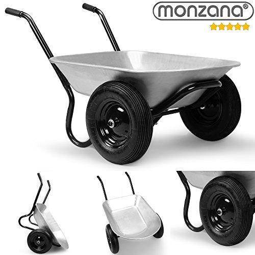 Deuba Monzana® Schubkarre 2Rad 150kg Bauschubkarre 100L Transportkarre Gartenkarre Baukarre | Stahlfelge | 2 Luftreifen | Autoventil | Kugellager - 2