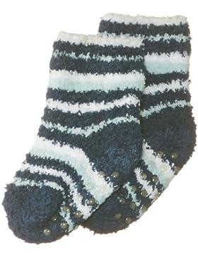 Playshoes Jungen Socke 498903 ABS Fleece-Socken Kuschelsocken Ringel bau, Gr. 17/18, Gr. one size, Blau (marine)