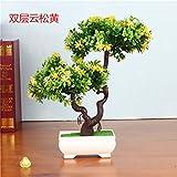LOF-fei Künstliche Pflanzen Kübelpflanzen Home Dekoration office bonsai Esstisch Zubehör,gelb grün square Keramik Blumentöpfe